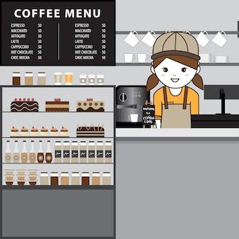 Innenarchitektur einer modernen kaffeestube.