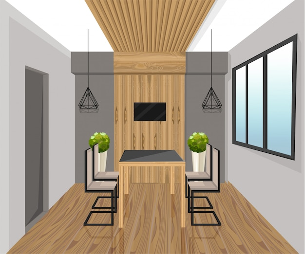 Innenarchitektur im loft-stil