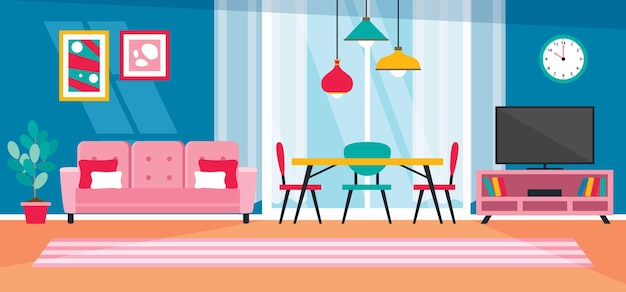 Innenarchitektur-konzept mit flachen möbeln