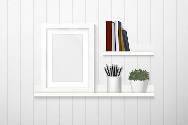 Innenarchitektur, rahmen, bücher und dekorationen auf regal auf weißer plankenwand, möbel.