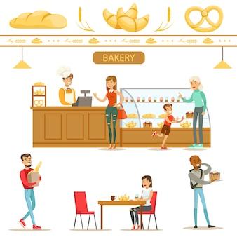 Innenarchitektur und glückliche kunden einer bäckerei set illustrationen