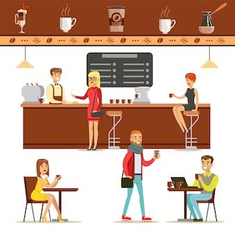 Innenarchitektur und glückliche kunden eines coffeeshop-set illustrationen