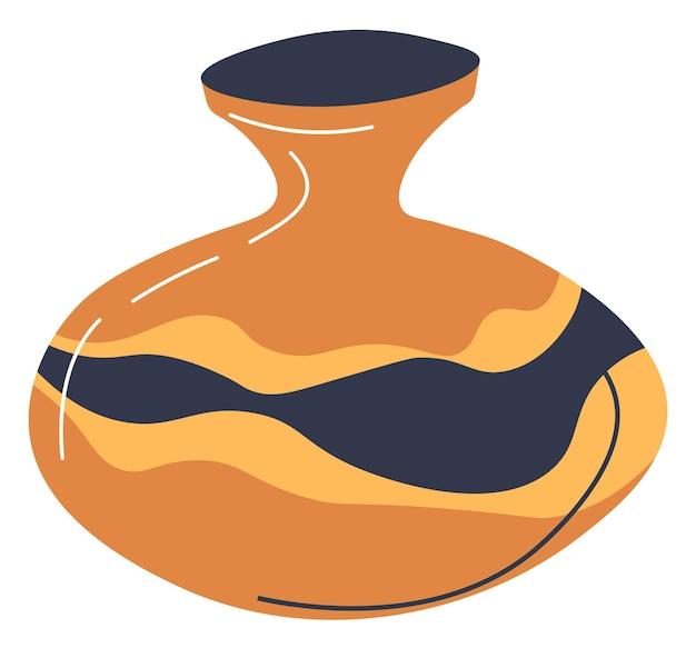 Innenarchitekturdekoration für zuhause, büro, styling oder wohnraum mit handgefertigter keramik. kulturerbe oder hobby, handwerkliche tätigkeiten. isolierter moderner topf, vektor im flachen stil