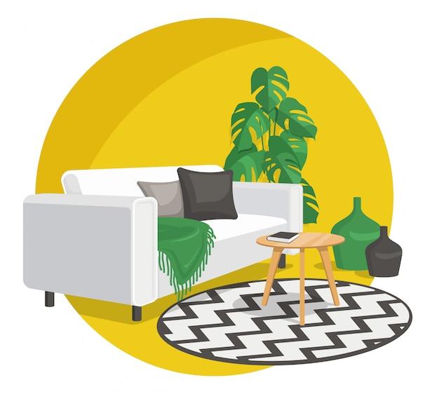 Innenarchitekturdekoration im skandinavischen stil, flache illustration.