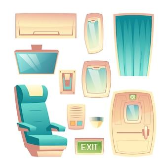 Innenarchitekturelementkarikatur-vektorsatz des modernen fluglinienpassagierflugzeugsaals