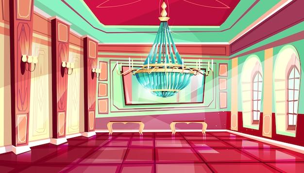 Innenarchitekturhintergrund des karikaturschlosspalast-ballsaals mit königlichen möbeln