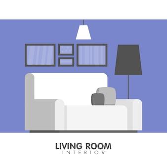 Innenarchitekturikone des modernen wohnzimmers.