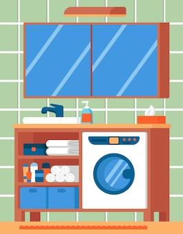 Innenarchitekturkonzept des badezimmers, vektorillustration