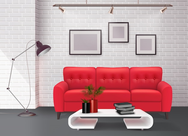 Innenarchitektursonderkommando des zeitgenössischen einfachen sauberen wohnzimmers mit realistischer illustration des erstaunlichen ledernen roten sofaakzentes