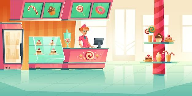 Innenausstattung der bäckerei und des süßwarenladens mit kassiererin