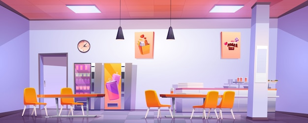 Innenausstattung der kantine in schule, hochschule oder büro
