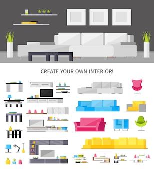 Innenausstattung illustration und satz von möbeln