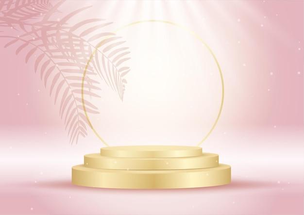 Innenausstattung in rosa und gold mit scheinwerfern auf leerem podium