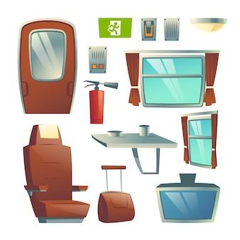 Innenausstattungselementkarikatur-vektorsatz des bahnpersonenzug-güterwagensaals