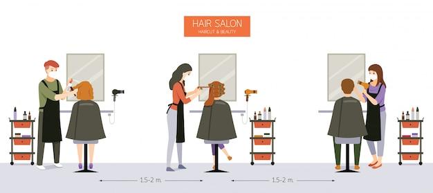 Innendekoration von friseursalon, schönheitssalon, friseurladen mit kunden, friseur, möbeln und ausrüstungen