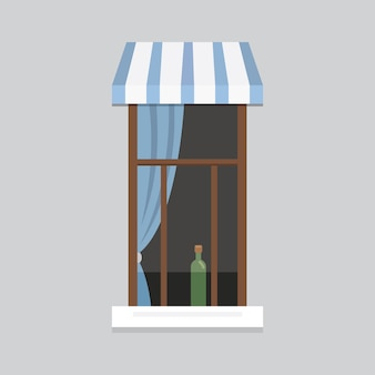Innenfensterillustration. außen- oder außenansicht der architektur, gebäude- und hauptthema.