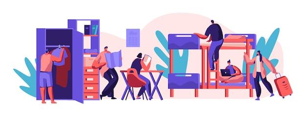 Innenheim für studenten. ort zum leben, schlafen und studieren im akademischen jahr. alternatives zuhause für charakter. suchen sie im zimmer bett, tisch und schrank. flache karikatur-vektor-illustration