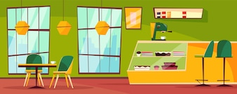 Innenillustration des Cafés oder der Cafeteria der Karikaturpatisserie.