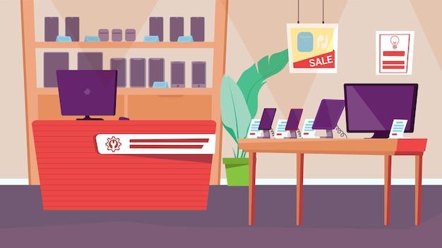 Innenkonzept des elektronikladens in einem flachen cartoon-design-shop mit einer auswahl an handys, tv und...
