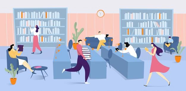 Innenraum der bibliothek mit büchern und leuten, die literatur lesen, mann, der stapel bücher illustrationserziehung hält, studiert und liest.