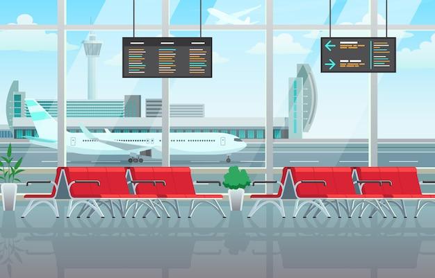 Innenraum der flughafenlounge, wartehalle mit roten stühlen, informationstafeln