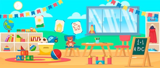 Innenraum der kindergartenerziehung. vorschulklassenzimmer mit schreibtisch, stühlen und spielzeug.