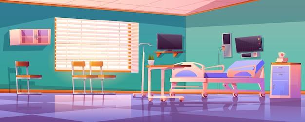 Innenraum der krankenstation mit verstellbarem bett