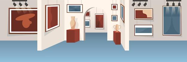 Innenraum der leeren kunstgalerie. ausstellung mit berühmter malerei. ausstellung im innenbereich. illustration