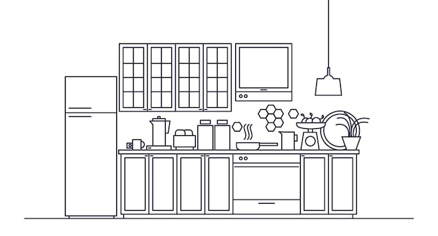 Innenraum der modernen möblierten küche mit geräten, küchenutensilien, kochgeschirr, kochutensilien, einrichtungen, werkzeugen und geräten, wohnaccessoires