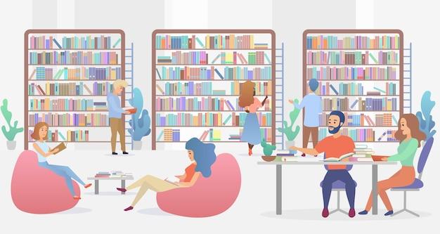 Innenraum der öffentlichen bibliothek mit studenten