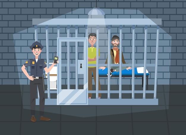 Innenraum der polizeistation. polizist in uniform