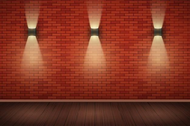 Innenraum der roten backsteinmauer mit wandlampen und holzboden.