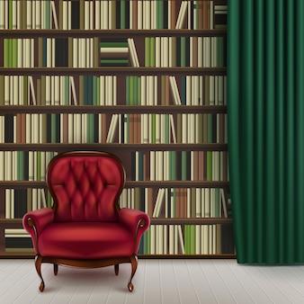 Innenraum der vektorheimbibliothek mit großem bücherregal voller verschiedener bücher, rotem vintage-sessel und dunkelgrünem vorhang
