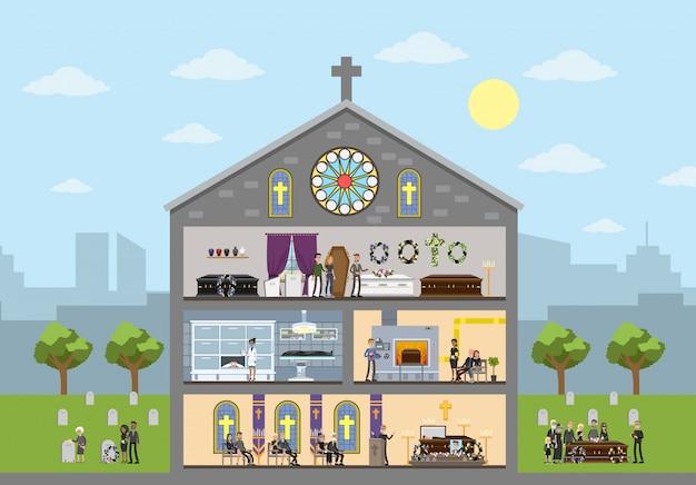 Innenraum des bestattungsunternehmens. friedhof und krematorium. menschen in schwarzen kleidern weinen bei der gedenkfeier in der kirche. illustration
