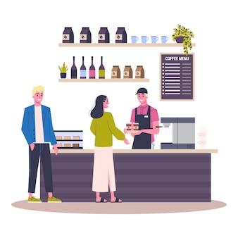 Innenraum des coffeeshop-gebäudes. die leute kaufen kaffee im café. menü an der tafel. illustration