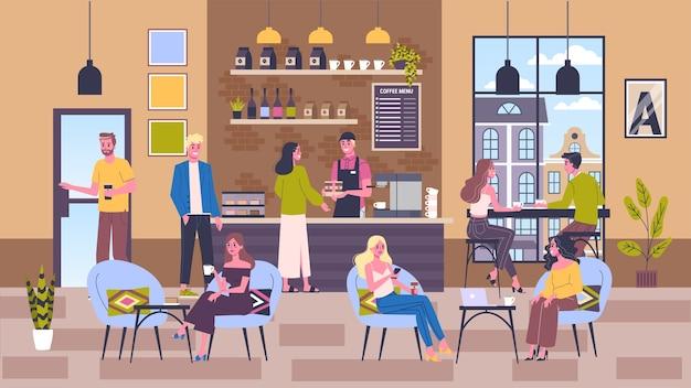 Innenraum des coffeeshop-gebäudes. die leute trinken kaffee im café. menü an der tafel. illustration