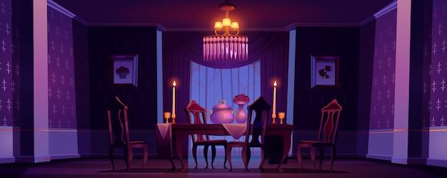 Innenraum des esszimmers im viktorianischen stil bei nacht