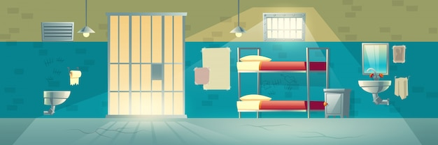 Innenraum des gefängnisses, kerkerraum für gefangene