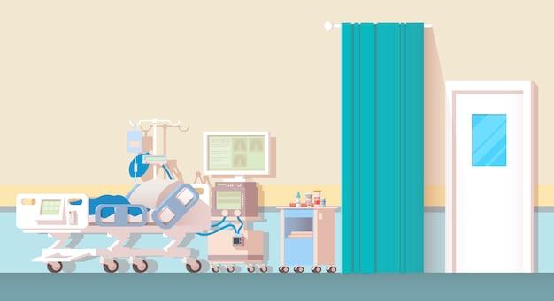 Innenraum des krankenzimmers.