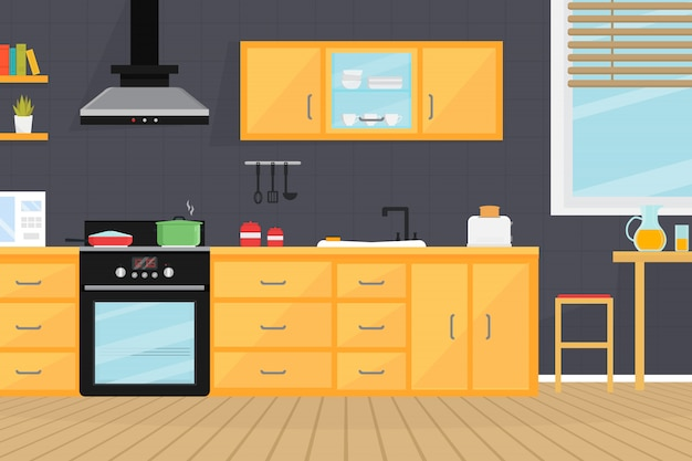 Innenraum des küchenzimmers mit elektrogeräten, waschbecken, möbeln und geschirr.