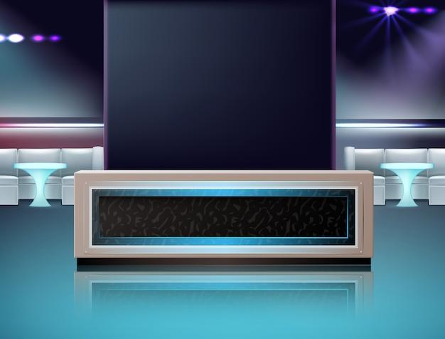 Innenraum des leeren nachtclubs des vektors in den farben blau, türkis, violett mit bartheke, stühlen und tischen