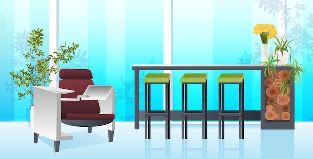 Innenraum des modernen kabinetts leer kein büroraum der leute mit horizontaler illustration der möbel