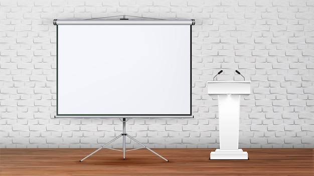 Innenraum des modernen sitzungssaals für vortrag
