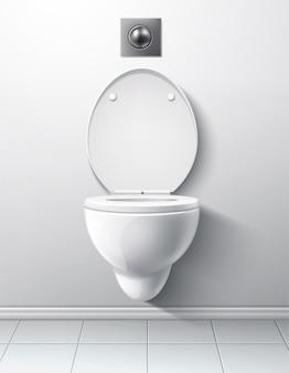 Innenraum des modernen toilettenraums mit der übergabe der toilettenschüssel