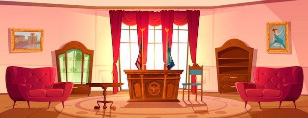 Innenraum des ovalen kabinetts, präsident des us-arbeitsplatzes