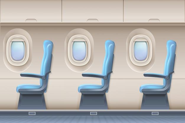 Innenraum des passagierflugzeugvektors. innen flugzeuge mit bequemen stühlen und bullaugen