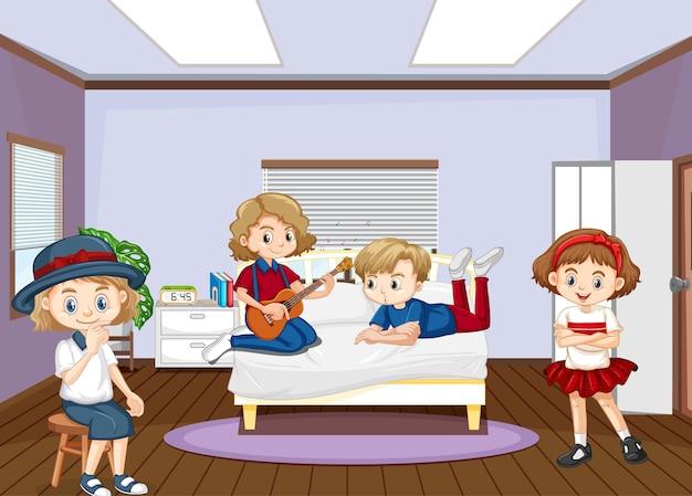 Innenraum des schlafzimmers mit kinderzeichentrickfilm-figur