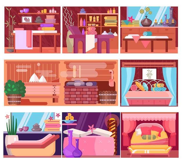 Innenraum des spa-massageraums für entspannungstherapie und schönheits- oder gesundheitsbehandlung im hotelresort-illustrationssatz der dekoration des entspannungsaromatherapie-salons