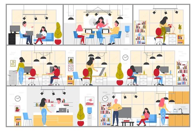 Innenraum des studiogebäudes. büroarbeitsplatz für innen-, industrie- und grafikdesigner. geschäftsbereich, kreative elemente und ausstattung. illustration