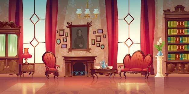 Innenraum des viktorianischen wohnzimmers